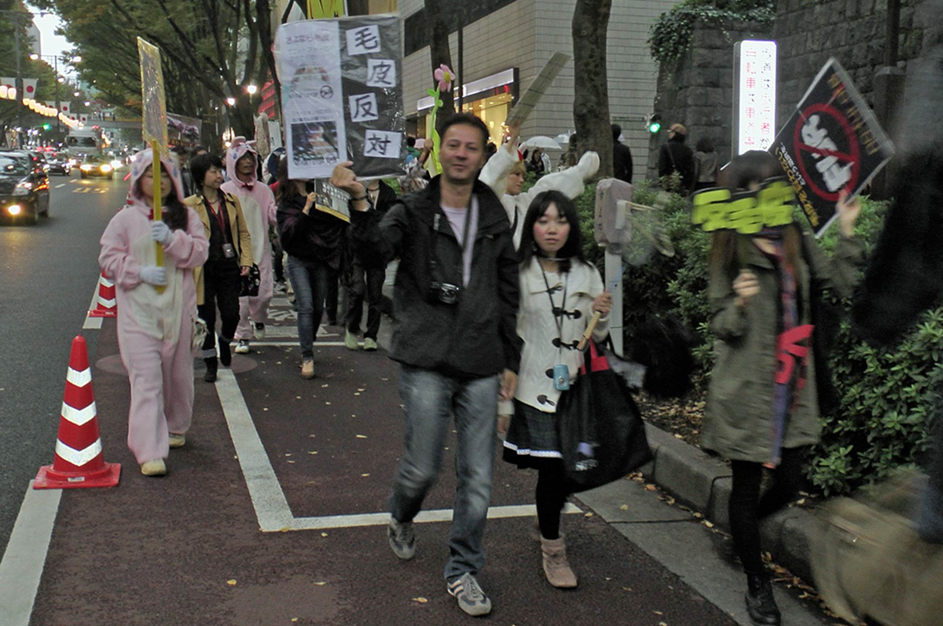Growing Animal Rights Movement in Japan sparks hope. While in Japan, Sasha takes part in an anti-fur demo in Tokyo which attracted several hundred nationals. Photo: Hans Peter Roth