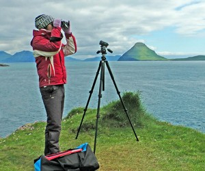 Land-based whale watching on the West side of Streymoy, the main island of the Faroes. Photo: Sasha Abdolmajid