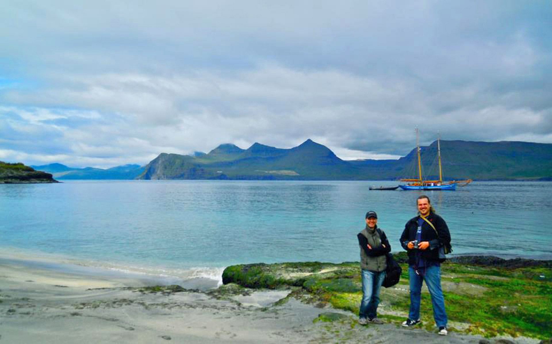 Sasha Abdolmajid and Faroese environmentalist, Rúni Nielsen, in the stunning surroundings of the Koltur in the Faroe Islands. Photo: HP Roth