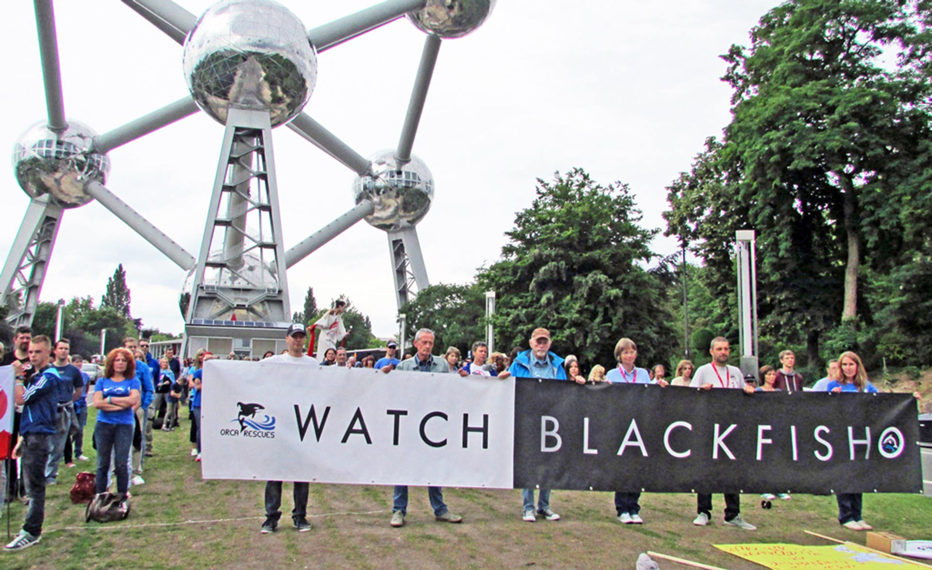 Belgium's Atomium made an impressive backdrop for the demonstration. Photo: Sasha Abdolmajid