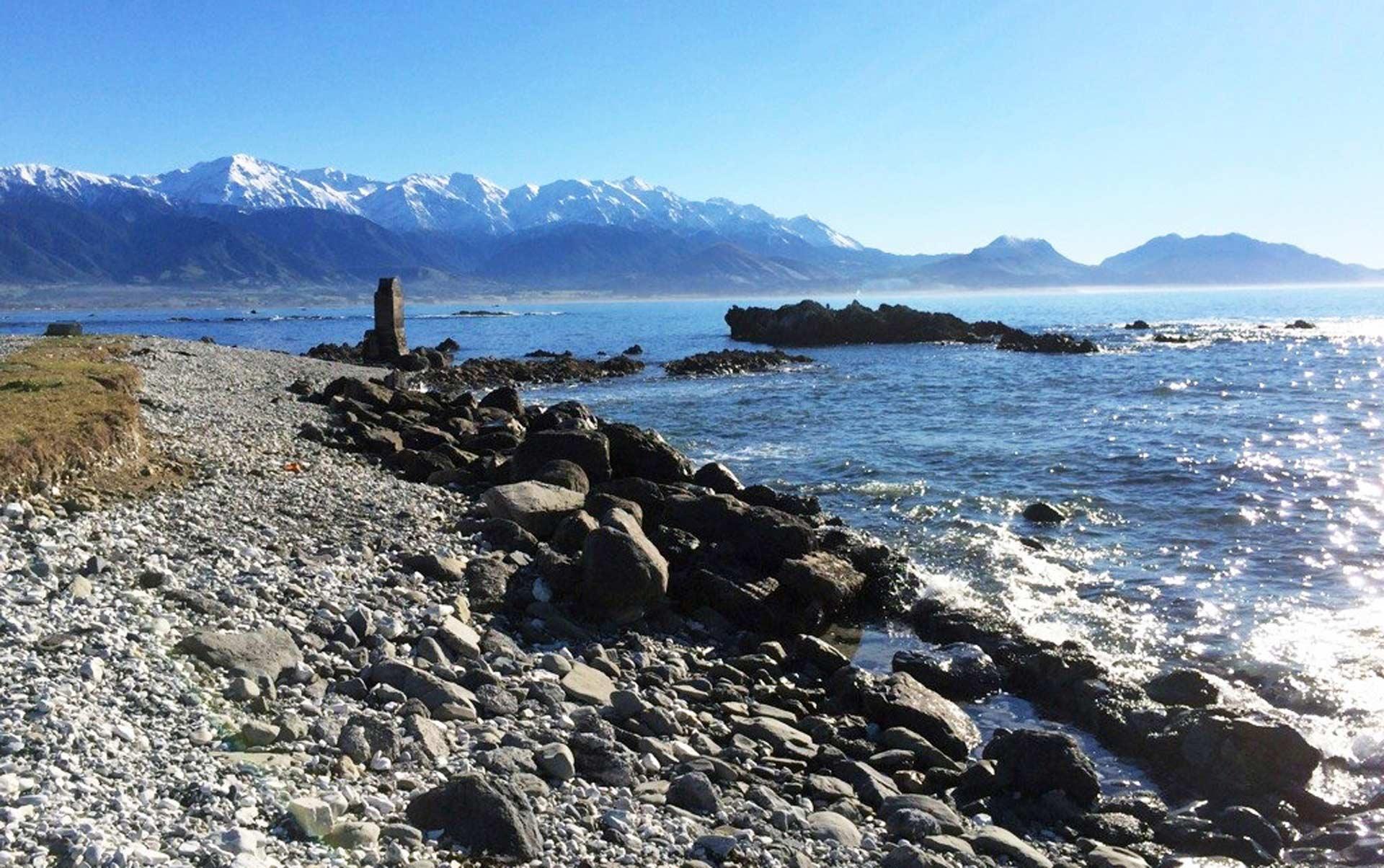 ニュージーランドのカイコウラ町 捕鯨場の跡地