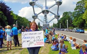 The Atomium made a striking backdrop for the demonstration. Photo: Sasha Abdolmajid